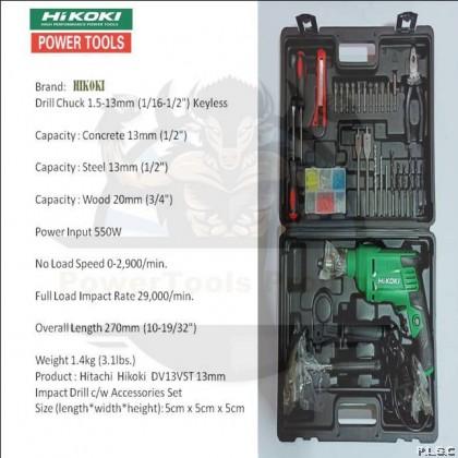 Hikoki / Hitachi DV13VST 13mm 550W Impact Drill Set C/W 28 pcs Accessories
